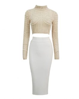 Elegant Bodycon Long Sleeve Beading Club Wear Sets