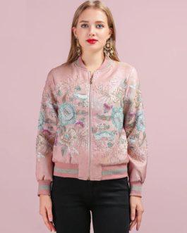 Elegant Flower Embroidery Beading Vintage Jacket