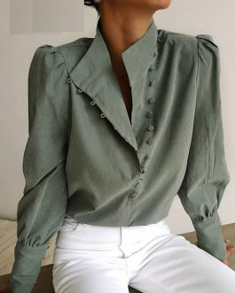 Elegant Puff Sleeve Solid Blouse Shirt