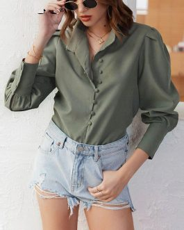 Elegant Puff Sleeve Solid Blouse Shirt