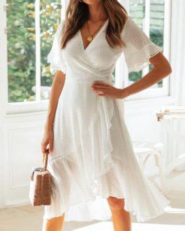 Elegant Ruffled Beach Style Wrap Dress