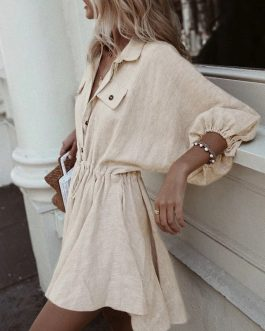 Elegant Buttons Long Sleeve Shirt Dress