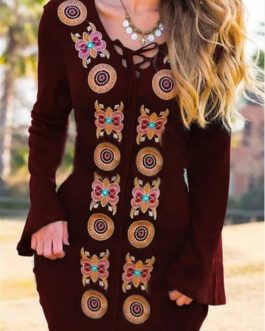 Ethnic Printed V-neck Long Flare Sleeve Vintage Dress