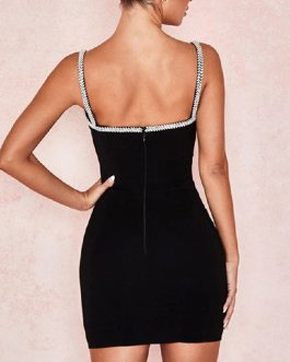 Evening Bandage Spaghetti Strap Sheath Diamond Bodycon Dress