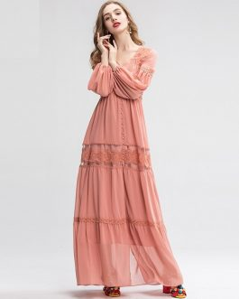Floral Embroidery Patchwork Split Party Maxi Dresses