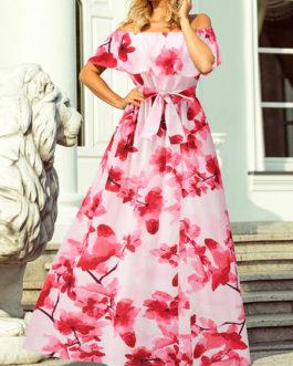 Floral Off The Shoulder Split Maxi Dresses