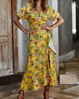 Floral Printed V Neck Wrap Maxi Dresses