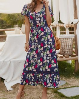 Floral Short Sleeves V Neck Split Long Maxi Dresses