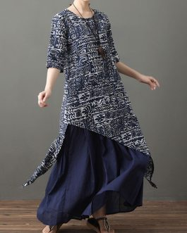 Half Sleeves Floral Print Jewel Neck Layered Cotton Long Maxi Dress