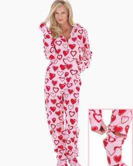 Hoodie Front Zipper Polar Fleece Footed Pajamas