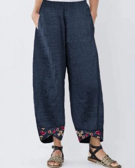 Irregular Floral Print Patchwork Pants