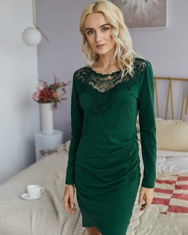 Lace Spliced O-neck Long Sleeves Dress