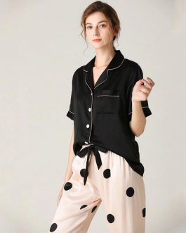 Lapel Collar Short Sleeve Striped Sleepwear