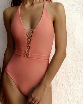 Lattice Closure Deep V-Neckline One Piece Swimsuit