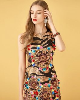 Leopard Print Embroidery Beading Vintage Mini Dresses