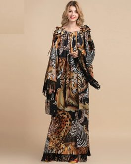 Leopard Print tassels Sleeve Vintage Party Maxi Dress