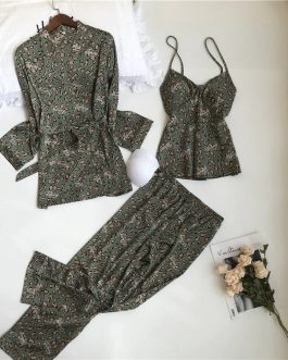 Leopard Printing Sleepwear 3 Pieces Set