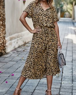 Leopard Short Sleeves Sash Long Maxi Dresses