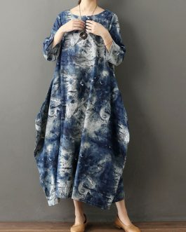 Long Sleeves Floral Print Jewel Neck Layered Cotton Floor Length Maxi Dress