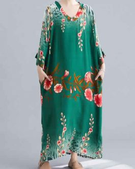 Long Sleeves Floral Print V-Neck Cotton Floor Length Maxi Dress