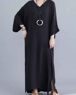 Long Sleeves V-Neck Cotton Long Maxi Dress