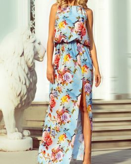 Maxi Dresses Floral Print Split Sleeveless Chiffon Beach Dress
