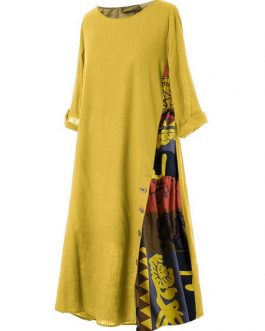 Maxi Dresses Half Sleeves Jewel Neck Printed Long Dress