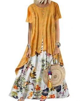 Maxi Dresses Jewel Neck Short Sleeves Printed Fake Two-Piece Style Long Dress
