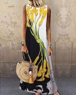 Maxi Dresses Jewel Neck Sleeveless Printed Long Dress