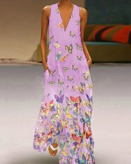 Maxi Dresses Lilac V-Neck Sleeveless Printed Long Dress