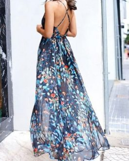 Maxi Dresses Printed V Neck Backless Floor Length Dress