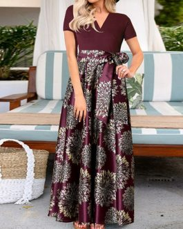 Maxi Dresses Short Sleeves Printed Dress