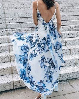 Maxi Dresses Sleeveless Floral Print V-Neck Lace Up Backless Polyester Long Dress