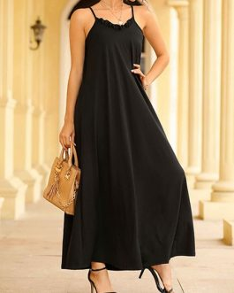Maxi Dresses Sleeveless Straps Neck Ruffles Backless Polyester Long Dress