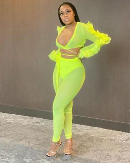 Mesh Sexy v-neck Bandage Two Piece Set