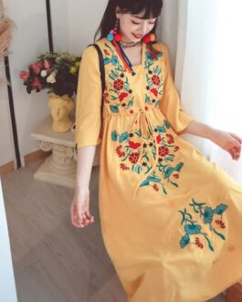 New Style Retro Ethnic Travel Holiday Embroidered Long Dress