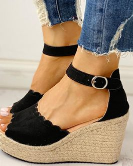 Open Toed Wedges – Scalloped Edges