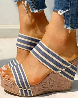 Overlap Wide Strap Wedge Sandals