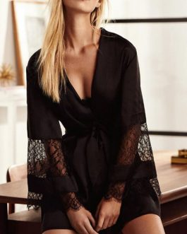 Pajamas Sleepwear Lace Long Sleeves Polyester Lingerie