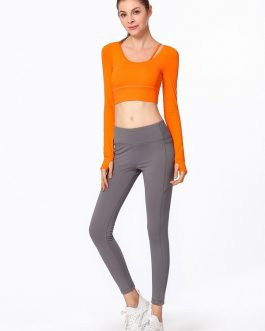 Plain Pure Color Backless Skinny Yoga T Shirt