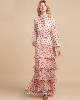 Polka Dot Bow Halter Tiered Party Maxi Dress