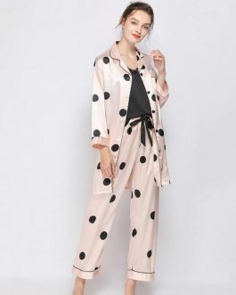 Polka Dot Long Sleeve Nightwear 3 PCS Sets