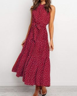 Polka Dot Sleeveless Chiffon Maxi Dresses