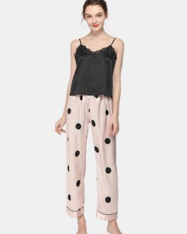 Polka Dot Spaghetti Straps Lace-trim Backless Lungewear Casual Pajama Set