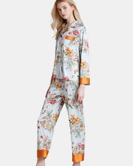 Satin Lapel Casual Loungewear Floral Printed Pajamas