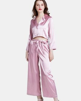 Satin V-Neck Short Tops Button-Down Tempting Pajama Set