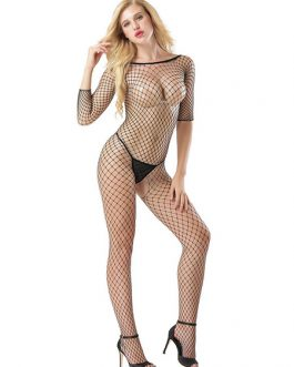 Sexy Bodystocking Fishnet Sheer Long Sleeve Lingerie