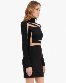 Sexy Lace Bandage Long Sleeve Hollow Out Club Mini Party Dress