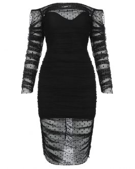 Sexy Lace Slash Neck Long Sleeve Bodycon Dress