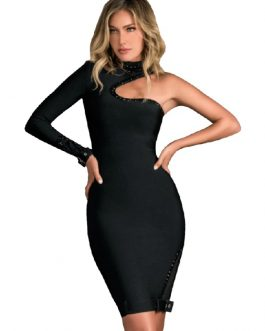 Sexy One Shoulder Long Sleeve Bandage Hollow Out Party Dress